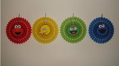 birthday party fan rosette wall decoration decor banner Set of 4 monsters Sesame Street Elmo Big Bird Oscar Grouch Cookie Monster