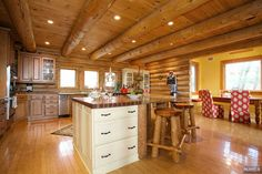 Spacious kitchen set in a modern log cabin in the luxurious area of Franklin Lakes, NJ
