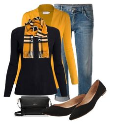 """""""Mustard Burberry"""" by firefly7522 ❤ liked on Polyvore featuring Goldsign, Rumour London, Burberry, Kate Spade and Old Navy"""