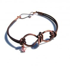 leather & copper wire bracelet #handmade #jewelry #DIY #bracelet #wire_wrapping