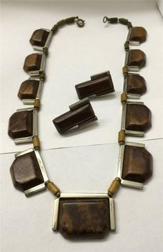 Signed France French Art Deco Necklace Earrings parure Chrome Wood Bakelite   France  Retro Art f239dedf8da