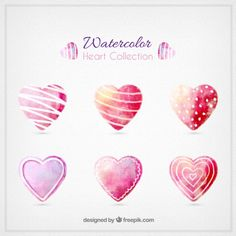 Watercolor valentines day hearts collection Free Vector