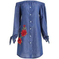 Denim Blue 5xl Plus Size Chambray Off Shoulder Floral Applique Dress (€15) ❤ liked on Polyvore featuring dresses, plus size blue dress, blue off the shoulder dress, off-the-shoulder dress, blue off shoulder dress and plus size denim dress