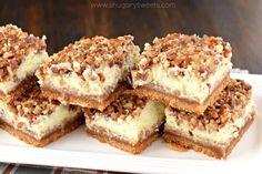 Pecan Pie Cheesecake Bars Recipe - Shugary Sweets
