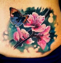 26 Blumentätowierung - Tattoos and body art - Realistic Flower Tattoo, Butterfly Tattoo Cover Up, Butterfly Tattoo On Shoulder, Butterfly Tattoos For Women, Butterfly Tattoo Designs, Tattoo Son, Back Tattoo, 22 Tattoo, Great Tattoos