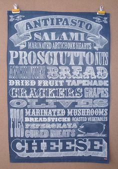 Antipasto tea towel, with chalk hand-lettering    penny candy