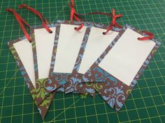 Gift tag with scrapbook paper  Set of 5  diferent size and design