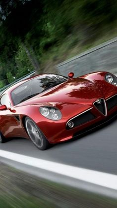 alfa romeo 8c, red, Cars