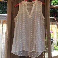 Darling white sleeveless blouse NWOT It's adorable. Sheer. 100% polyester. Olive & Oak Tops Blouses