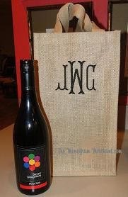 $21.95. 4 bottle monogammed jute wine bag with removable divider. So many possibilities!