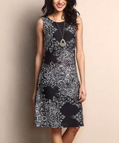 Another great find on #zulily! Black & White Paisley Sleeveless Shift Dress #zulilyfinds
