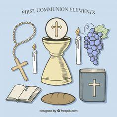 Biblia con varios elementos de primera comunión  Vector Gratis