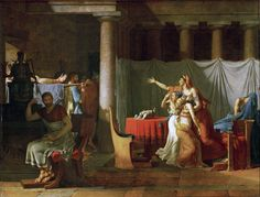 Jacques-Louis David Lictors Bring to Brutus the Bodies of His Sons, 1789 Olio su tela, 323 x 422 cm Musée du Louvre David Painting, Painting & Drawing, Jacque Louis David, Canvas Art Prints, Oil On Canvas, Art Magique, Rome Antique, Classic Paintings, Oil Painting Reproductions