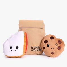 Cookie dog toy. Peanut butter + jelly dog toy. Bark to school. #cutedogtoy