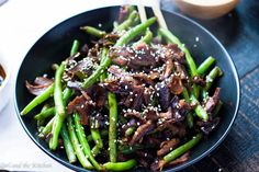Honey Soy Glazed Green Beans with Shitake Mushrooms