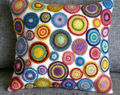 Peruvian Pillow embroidered multicolored circles Sheep & alpaca wool 16 x 16 cushion covers Crochet Cushion Cover, Crochet Cushions, Crochet Pillow, Cushion Covers, Crochet Trim, Cushion Embroidery, Embroidered Cushions, Embroidered Flowers, Penny Rugs