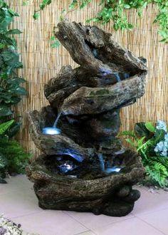 Fontaine Cascade de Rocher avec Lumières LED