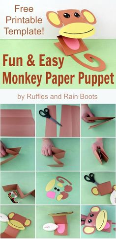 The Most Adorable Monkey Paper Puppet with Free Template! Make this adorable monkey paper puppet for kids using this free printable template. They are so stinking cute! Animal Crafts For Kids, Paper Crafts For Kids, Preschool Crafts, Safari Crafts, Jungle Crafts, Printable Crafts, Free Printable, Monkey Puppet, Monkey Crafts