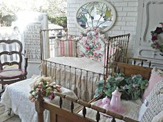 Penny's Vintage Home: Vintage Baby Cribs on the Porch