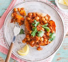 Get some protein into a vegan diet with this tasty chickpea curry jacket. It's an easy midweek meal, or filling lunch that packs a lot of flavour Vegan Recipes Bbc, Vegan Dinner Recipes, Bbc Good Food Recipes, Vegan Foods, Vegan Dinners, Vegetarian Recipes, Healthy Recipes, Superfood Recipes, Meat Recipes