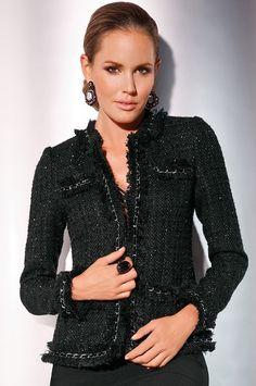 Parisian jacket from Boston Proper on Catalog Spree Black Tweed Jacket, Chanel Tweed Jacket, Chanel Style Jacket, Boucle Jacket, Mode Chic, Mode Style, Chanel Fashion, Fashion Beauty, Channel Jacket