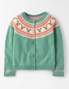 Fans of cuddly critters will go mad for this knitted cardigan. Our intricate animal designs have extra detailing to pick out the mini snouts and beaks. Pair this cardie with jeans (and wellies) when racing along the seafront on blustery days. Crochet Baby Mittens, Fingerless Gloves Crochet Pattern, Crochet Baby Cardigan, Baby Afghan Crochet, Baby Knitting, Knit Crochet, Reindeer Sweater, Baby Girl Sweaters, Fair Isle Knitting