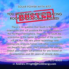 MYTH #77 - YOU MUST HAVE A SOUTH-FACING ROOF TO GO SOLAR - BUSTED!   87 Solar Myths - Contact Andrew Wright (303) 222-8305 or Andrew.Wright@RGSEnergy.com  #87solarmyths #solarmyths #solarwright #solar #renewableenergy #busted #confirmed #solarporn #solarpanel #rgsenergy #mythbusters