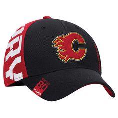 Reebok Calgary Flames Youth Black Red 2016 NHL Draft Structured Flex Hat b452512390e1