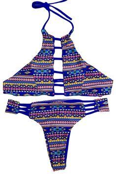 f68331d24a9d Tribal Geometry Cut out Vintage Pinup Female Two Piece Tankini #Tankini Two  Piece Bikini,