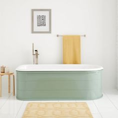 Buy the Signature Hardware 447290 Retro Green / Chrome Drain Direct. Shop for the Signature Hardware 447290 Retro Green / Chrome Drain Boleyn Cast Iron Soaking Tub with Retro Green Steel Skirt and Integrated Drain and Overflow and save. Modern Bathroom, Master Bathroom, Bathroom Ideas, Bathroom Organization, Boho Bathroom, Bathroom Renos, Bathroom Styling, Bathroom Designs, Beautiful Bathrooms
