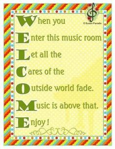 Welcome to the Music Room - Susan Paradis Piano Teaching Resources Piano Lessons, Music Lessons, Choir Room, Music Bulletin Boards, Middle School Music, Music Activities, Preschool Music, Preschool Ideas, Craft Ideas
