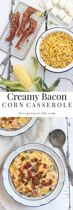 You must try this easy, mouthwatering side dish! Creamy, cheesy corn casserole hot out of the oven with tons of crispy bacon! | LoveGrowsWild.com