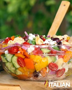 Loaded fresh vegetables and tortellini pasta this Greek Pasta Salad is almost perfect, add a sweet and tangy dressing
