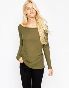ASOS Top with Off Shoulder Detail in Slouchy Fabric