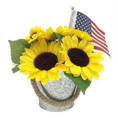 Americana Faux Sunflower & Flag Decor