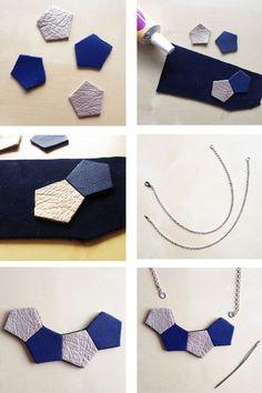 tuto DIY collier cuir géométrique