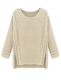 PrettyGuide Women Long Sleeve Side Zipper Cable Knit Pullovers Sweater Beige at Amazon Women's Clothing store: