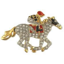 CRYSTAL TWO TONE JOCKEY HORSE BROOCH PIN MADE WITH SWAROVSKI ELEMENTS