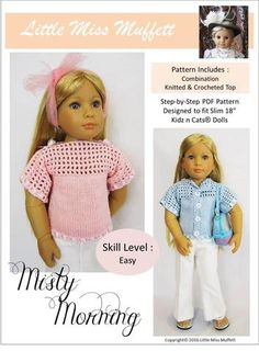 Little Miss Muffett Misty Morning Doll Clothes Pattern Kidz N Cats Dolls   Pixie Faire