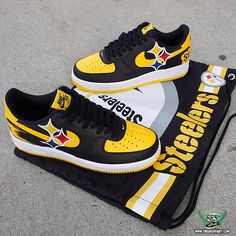 custom made air forces with a steelers theme! I am able to do any team that you can think ! feel free to ask me for ideas before purchase for team choice designs Nfl Shoes, Nike Air Shoes, Hype Shoes, Nike Air Jordans, Sneakers Nike, Kicks Shoes, Black Sneakers, Men's Shoes, Steelers Jacket