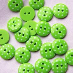20 Lime Green Spotty Buttons. Small- 15mm | Luulla