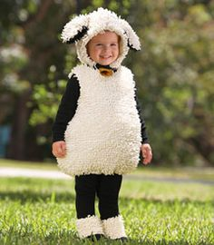 "little lamb costume - with a ""baa baa"" here, and an ""awww"" there. your cute little lamb frolics in an embellished bodysuit with decorative bell, separate hood and hooves."