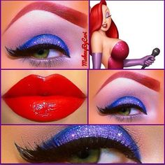 Hot (Jessica Rabbit) make up. Hot (Jessica Rabbit) make up. Maquillage Jessica Rabbit, Jessica Rabbit Makeup, Jessica Rabbit Costume, Jessica Rabbit Fancy Dress, Cosplay Makeup, Costume Makeup, Make Carnaval, Party Make-up, Party Ideas