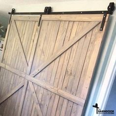 This Single Track Bypass Barn Door Hardware Kit allows two doors to over-lap each other so they are basically always connected, but one door can slide in front Barn Door Track, Diy Barn Door, Diy Door, Bypass Barn Door Hardware, Rustic Hardware, Door Hinges, Door Latch, The Doors, Front Doors