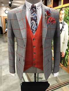 Collection: Fall – Winter 20 Product: Slim-Fit Plaid Suit Color Code: Gray Available Size: Suit Material: wool, acrylic Machine Washable: No Fitting: Slim-Fit Cutting: Double Slits, Double Button Package Include: Suit Clothes: Jacket, Vest and Pants Mens Tailored Suits, Slim Fit Suits, Mens Suits, Groom Suits, Plaid Suit, Suit Vest, Wool Suit, Designer Suits For Men, Fitted Suit