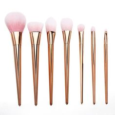 Product Highlights: - This 7 piece brush set is made from high quality natural and synthetic fibers - Soft, perfect for anyone with sensitive skin - Cruelty free - Picks up makeup products easily - Pe