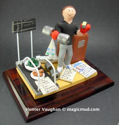 Gift for a Physical Trainer   www.magicmud.com 1 800 231 9814 creating a custom made gift figurine for any man based on the things he likes to do! ...incorporating his work, sports, family, hobbies, food, drink, electronic gadgets, etc. $225 #physical_trainer #athlete #dad #men #guys #christmas #birthday #anniversary #custom #personalized #xmas #present #award #ChristmasGift #BirthdayGift #husband