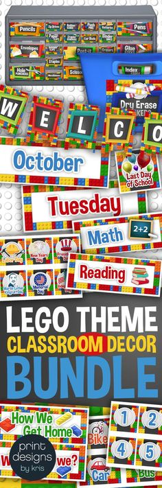 Everything your elementary school classroom needs to match in the lego theme! Name plates, calendar materials, teacher toolbox, supply labels, banner designs, and more!!