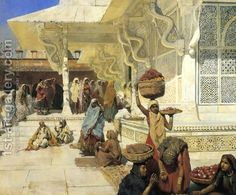 Festival At Fatehpur Sikri - Oil Painting by American Artist Edwin Lord Weeks The Snake, Golden Temple, Oil Painting On Canvas, Canvas Art, Taj Mahal, Indian Art Paintings, Oil Paintings, Original Paintings, Saint Michel