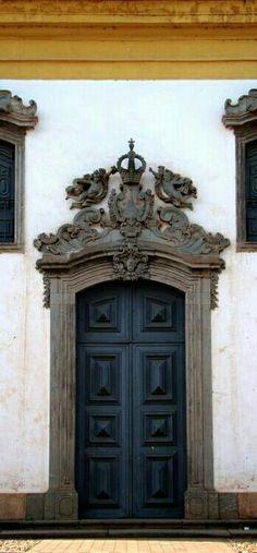 Black door with beautiful architecture.